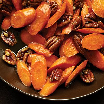Honey glazed carrots with pecans. I've made this before, and it's super yummy. You can pretty much make glazed carrots with anything - cinnamon, maple syrup, balsamic, ginger, or even just terragon or parsley. Veggie om noms.