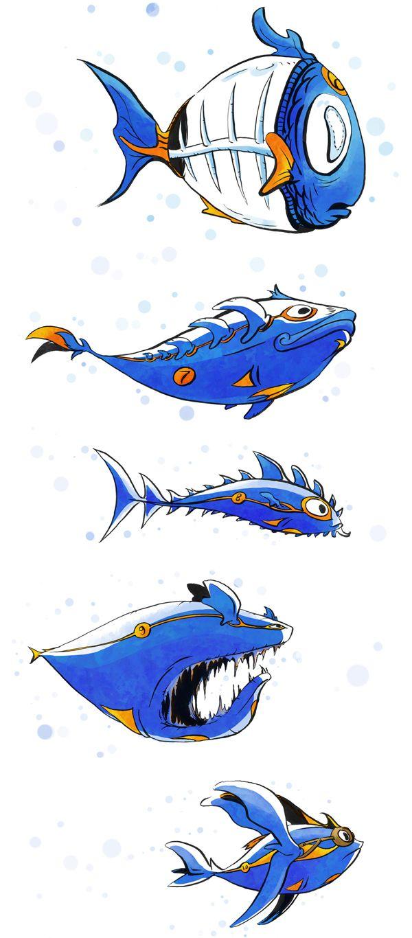 Fantasy fishes in the endless aquarium