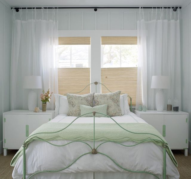 Amazing Cottage Bedroom Ideas with White Bed and Dual Desk Lights infront of Glass Window and White Curtain