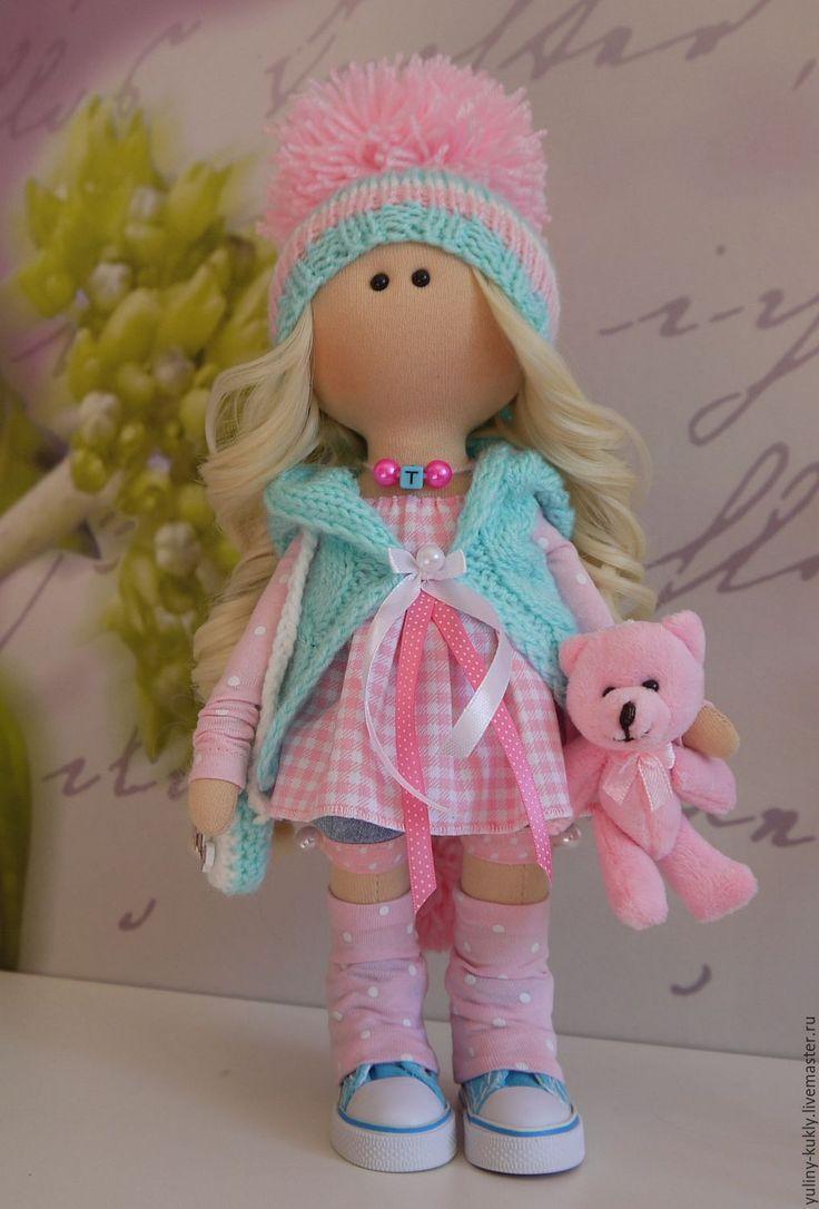 Купить Текстильная куколка- малышка Танечка - бирюзовый, кукла текстильная, кукла интерьерная, кукла в подарок ☆