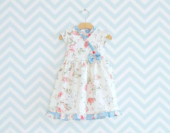 Little Girl Kimono Dress Party Dress Toddler Cotton by Melimebaby, $56.00