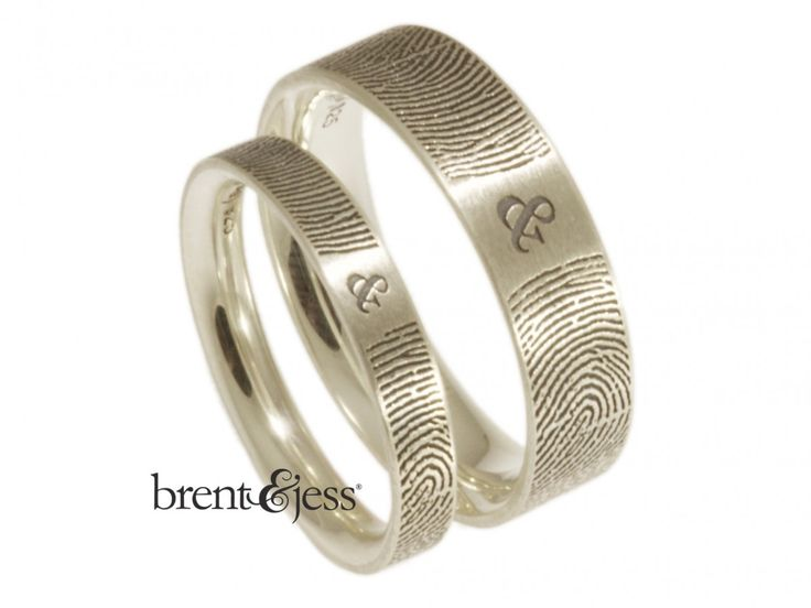 So Cool! Handmade with your fingerprints ! From www.brentjess.com -Brent&Jess ship all over the US and world.  Set of You and Me Forever Comfort Fit Fingerprint Wedding Bands in Sterling Silver - Custom handmade fingerprint jewelry by Brent&Jess