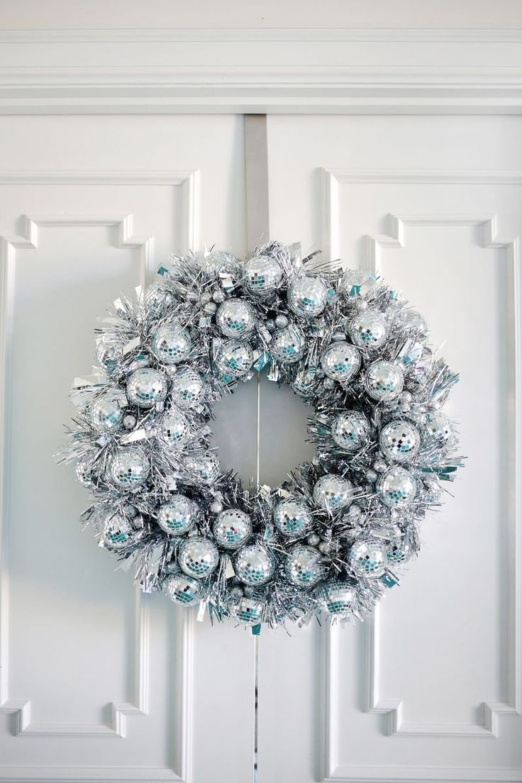 Glam up your front door with this DIY Disco Ball Wreath.