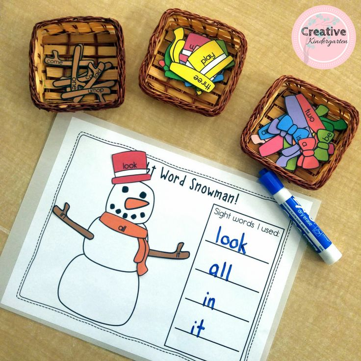 Sight word snowman literacy center for kindergarten students.