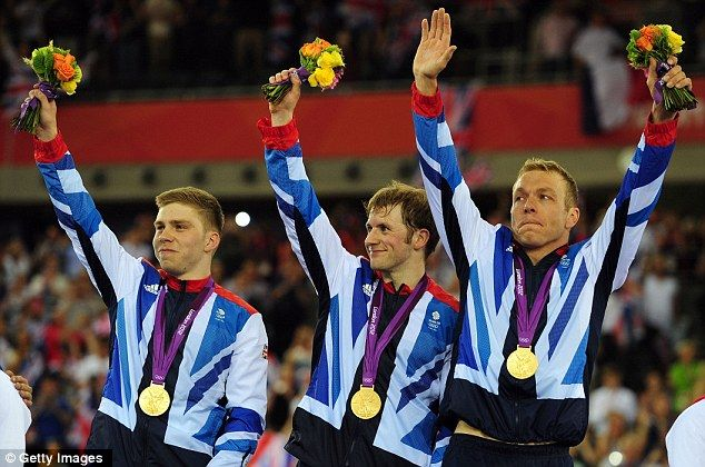 The men's sprint team also tasted gold on a fantastic day for Team GB - Philip Hindes, Jason Kenny  Chris Hoy