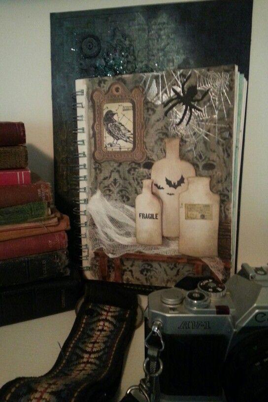 Halloween Journal Page - Tim Holtz die cuts, stamps & stencils