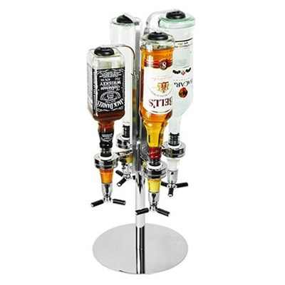 Bar Tender para 4 garrafas, com dosador de 45 ml. - R$159.00: Optical Dispenser, Drinks Optical, Bar Tenders, S'More Bar, Mobiles Measuring, Mobiles Bar, Boys, Stojak Barowi, Bottle Stands