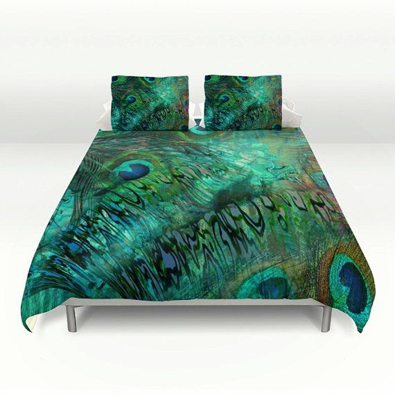 Perfect Peacock Feather Abstract Duvet Cover Set Peacock By FolkandFunky