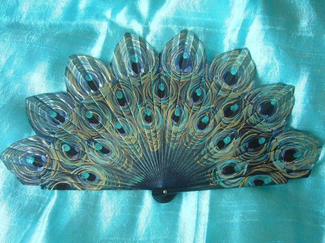 hand painted spanish peacock fan free shipping envio by txiquisan, $27.00