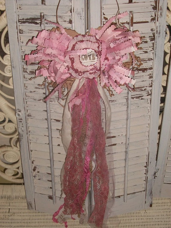 Shabby cottage chic very pink heart wall decor by AnitaSperoDesign, $28.00