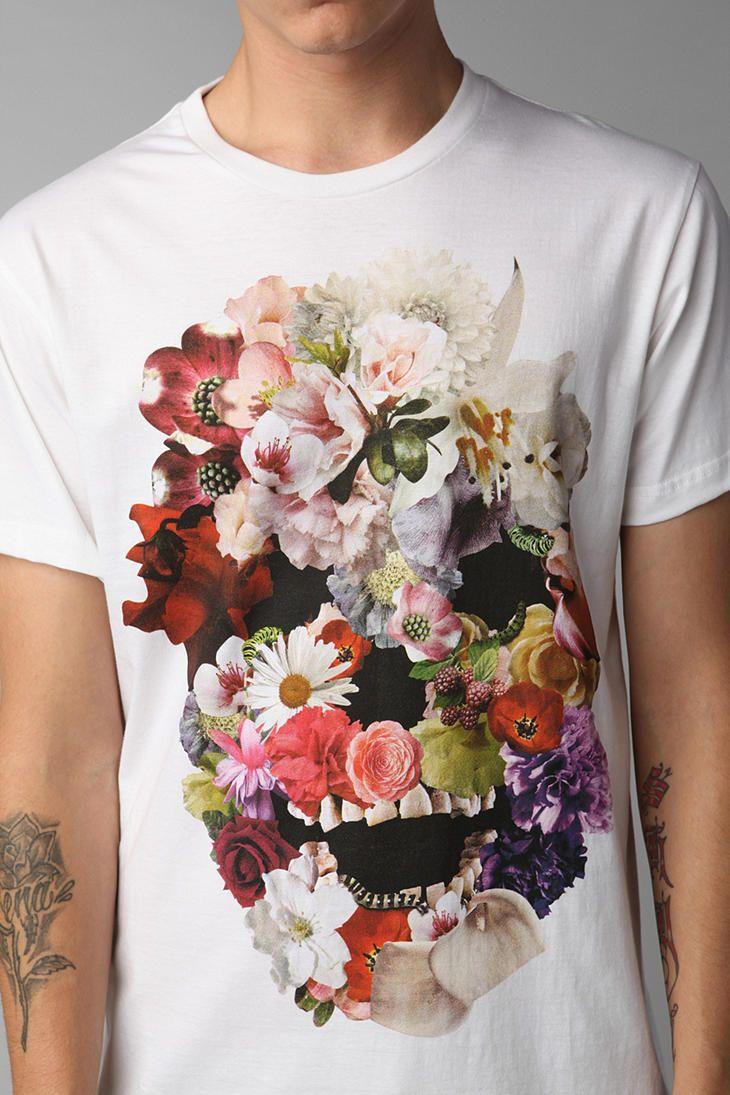 Shirt design pinterest - Tshirt Men S Floral Skull White Tee