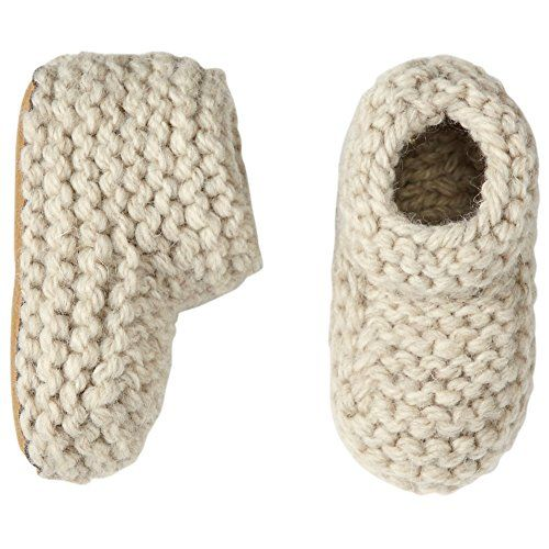 Hanna Andersson Baby Handknit Woolly Booties, Size 2 (2-4), Oat Heather