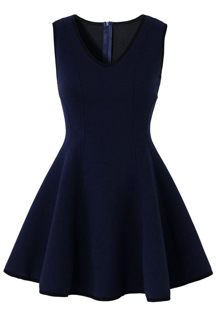 V-neck Navy Dress