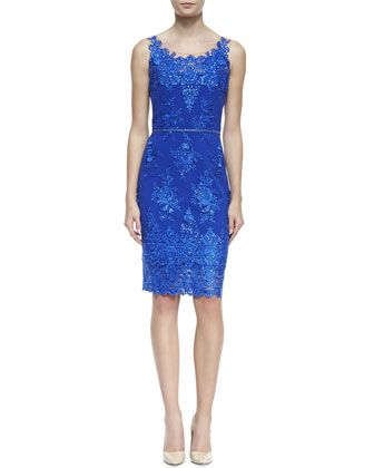 Embroidered Lace Cocktail Dress with Skinny Belt, Cobalt by Notte by Marchesa at Bergdorf Goodman.