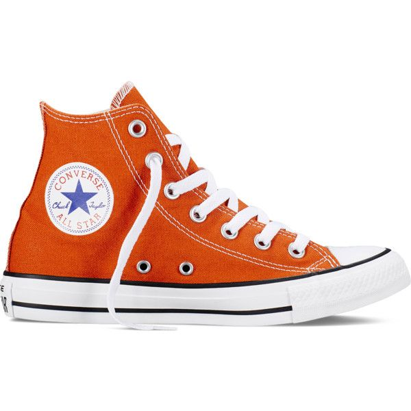 Converse Chuck Taylor All Star Fresh Colors – roasted carrot Sneakers ($60) ❤ liked on Polyvore featuring shoes, sneakers, converse, roasted carrot, orange high top sneakers, converse high tops, hi tops, converse trainers and orange sneakers