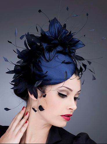 midnight blue fascinator with feathers