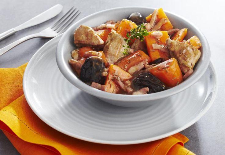 Sauté de porc aux pruneaux et carottes confites