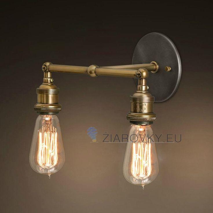 Historické nástenné svietidlo s dvoma päticami na žiarovky typu E27