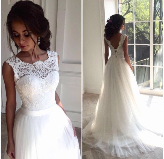 Illusion Neckline Wedding Dress, Lace and Tulle Wedding Dress, Future Wedding Dress, Delicate Lace V-back Wedding Gown, Bridal Dress, Formal by prom dresses, $120.00 USD