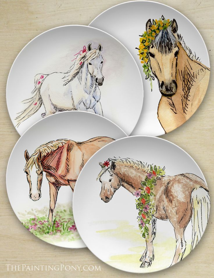 Whimsical Watercolor Pony Art Equestrian 10 Plate Horse Decor Equestrian Decor Art