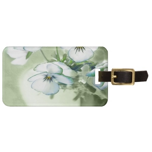 $8.95 Bouquet of White Pansies on Green Background Bag Tags