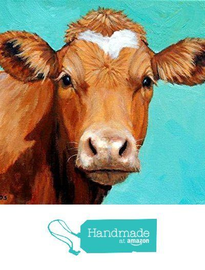 Guernsey Cow Art Print, honey colored Guernsey cow on light teal background, dairy cow, Print of Original Painting by Dottie Dracos from Dottie Dracos