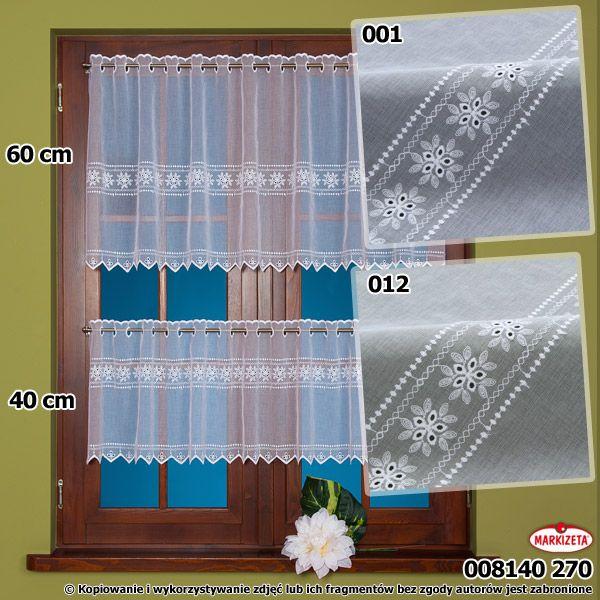 #Zazdrostka_metrażowa 008140 / wysokość 60 cm / kolor biały Ładna, delikatna zazdrostka haftowana na woalu fantazyjnym. Wysokość 60 cm. Materiał dobrze się układa i tworzy efektowną dekorację. Ładnie wygląda w połączeniu z zazdrostką o wys. 40 cm. wysokość: 60 cm  kolor: biały materiał: woal fantazyjny z haftem Możesz zlecić szycie w naszej profesjonalnej szwalni ceny już od 2,50 zł/mb. kasandra.com.pl