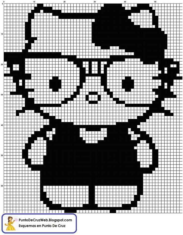 Hello Kitty blanco y negro Punto De Cruz