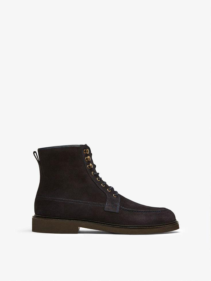 BOTIN PIEL SERRAJE AZUL PISO LIGERO de HOMBRE - Zapatos - Ver todo de Massimo Dutti de Otoño Invierno 2017 por 99.95. ¡Elegancia natural!
