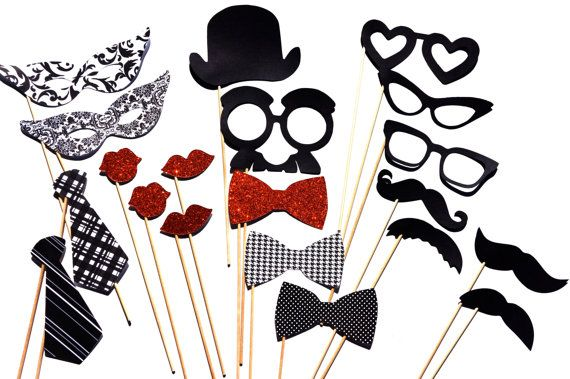 Classic Photo Booth Props - 20 piece set - Birthdays, Weddings, Parties - Photobooth Props - Black and White via Etsy