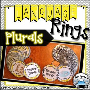 Speech TherapyPlural Language RingsPlural Language Rings  includes:114 Language Ring Cards.2 Separate Language Rings, targeting 55 plurals1 language ring targets identifying regular plurals. 1 language ring targets identifying irregular plurals.Do your students get tired of the same language cards? $4.00