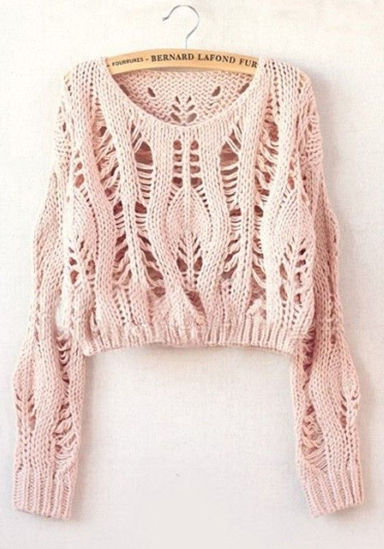 { Pink Hollow-out Collarless Wrap Short Synthetic Fiber Pullover }
