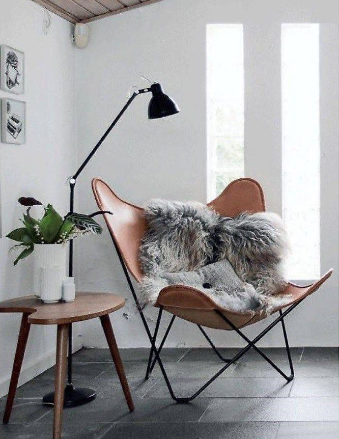Butterfly Chair In Scandi Setting With Sheepskin And Black Floor Lamp  #ButterflyChair Amazing Pictures