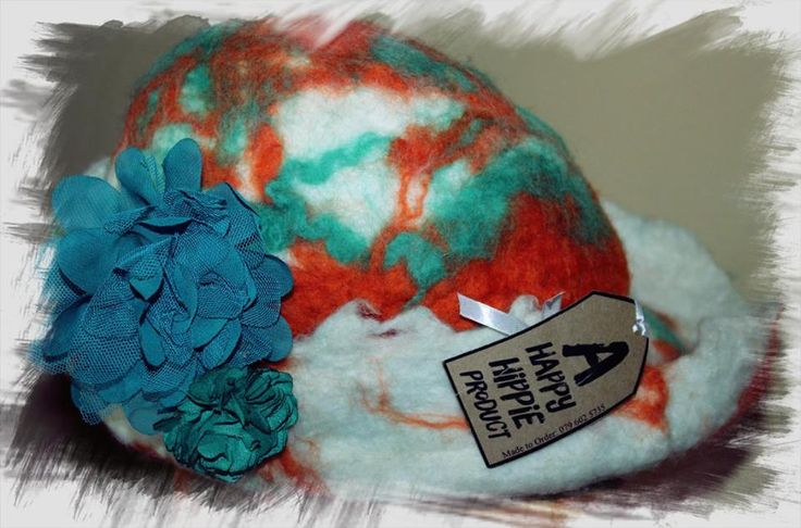 Funky Fairy - FeltArt - 'Happy girl' Felted hat.  Designed and hand created by a Happy Hippie.