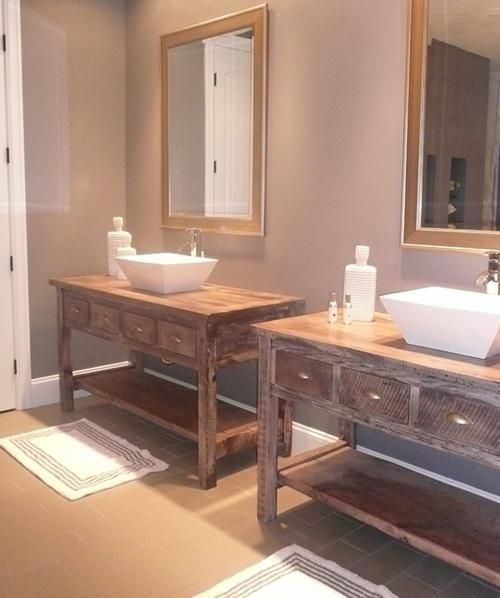 Bathroom Furniture Rustic Vanities Barnwood Vanity Hammered Copper Sink Stone Pedestal Sinks Love This