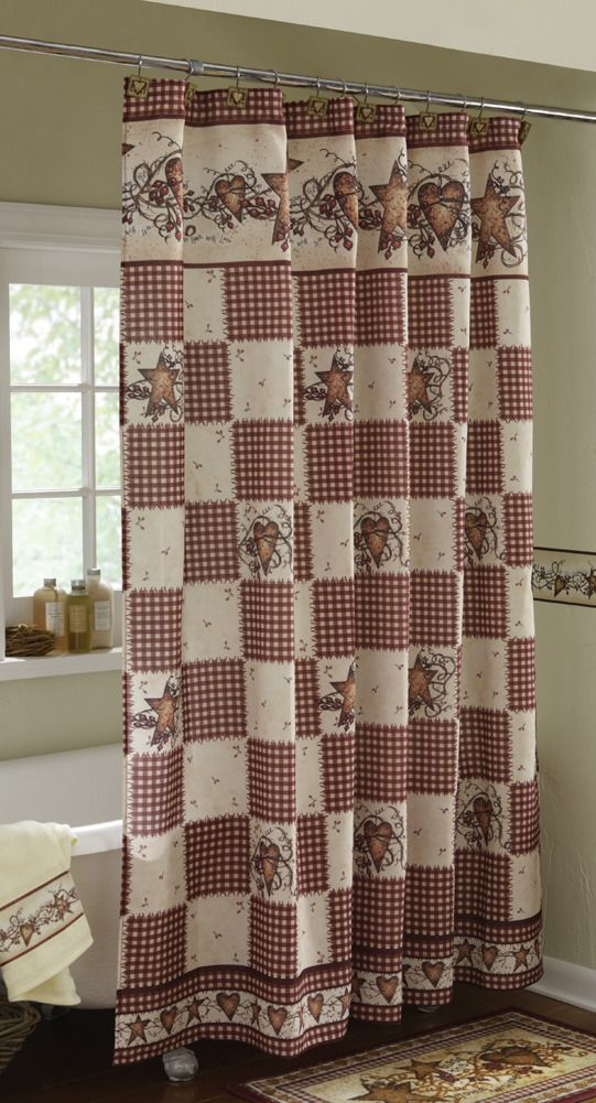 Linda Spivey Primitive Hearts And Stars Country Shower Curtain Blonder Home