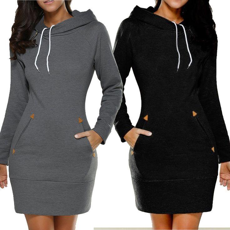 ブラック/グリーン/グレー/ワインレッド女性冬スウェットシャツドレス女性パーカープルオーバージャンパーポケットトップ