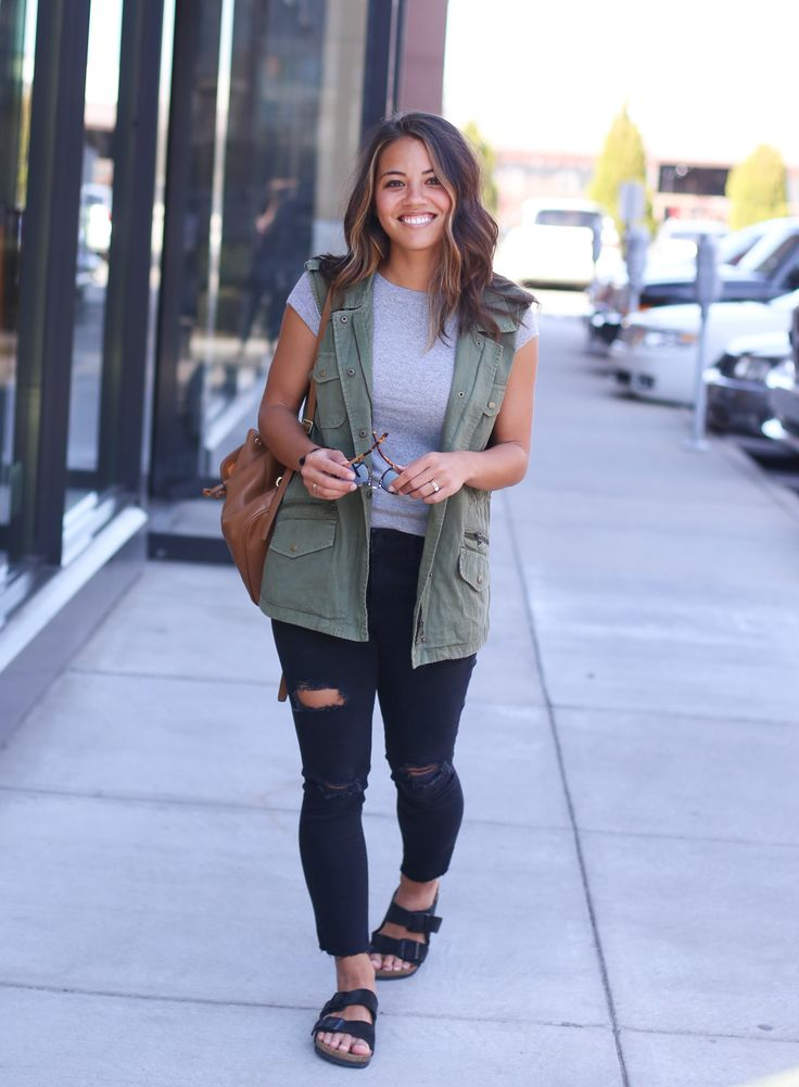 Moriah Murrell.com | Army Vest and Ripped Skinny Jeans