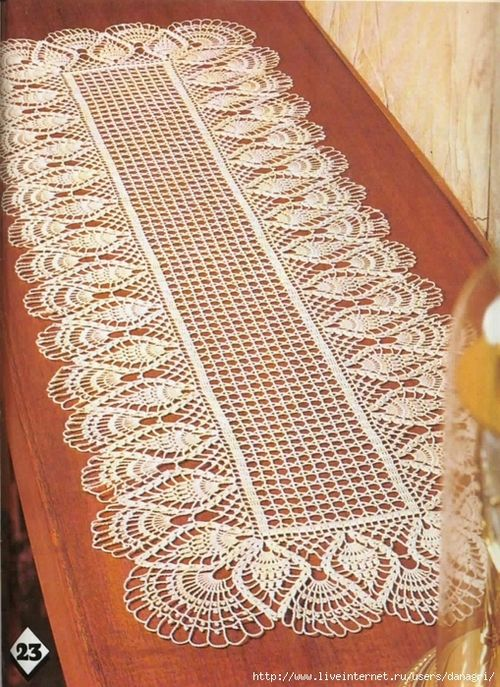 "pineapple crochet table runner""-"