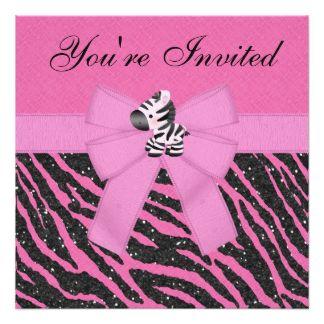 Zebra, princesa Coroa & brilho cor-de-rosa do Convite Quadrado 13.35 X 13.35cm