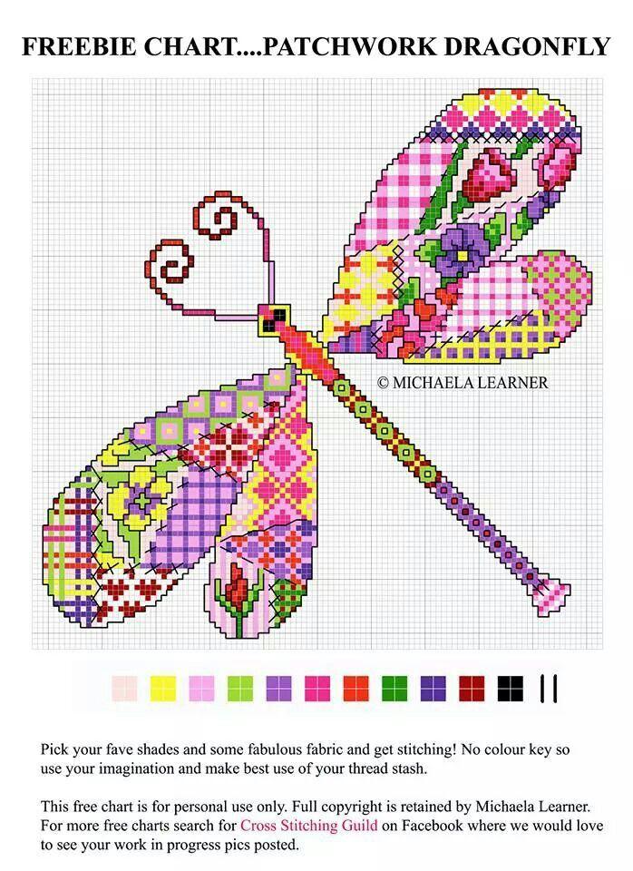 Freebie chart - Patchwork Dragonfly
