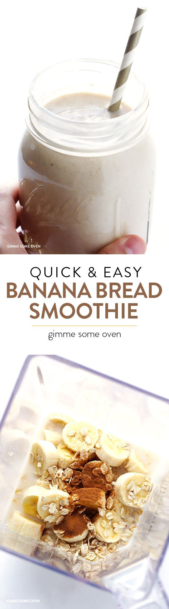 Banana Bread Smoothie - get the flavor without the fat and processed ingredients.