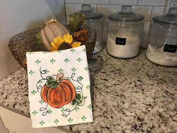 fall decorative hand towel tea towel pumpkins thanksgiving kitchen linens holiday linens kitchen decor hand painted handmade - Decorative Hand Towels