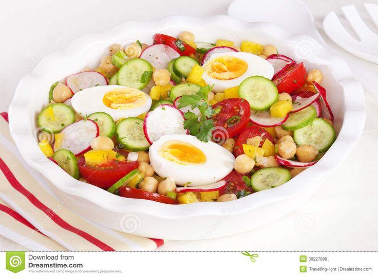 Salade met gekookt ei