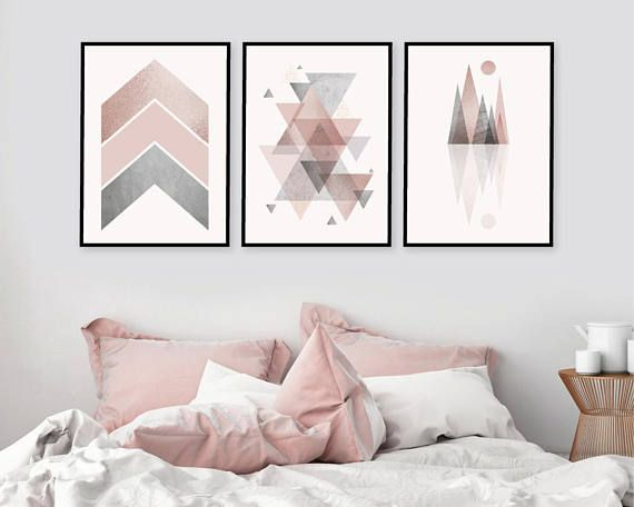Trio Of Matching Printable Art In Blush Pink And Grey Downloadable 3 Set Of Scandinavian Geometric Wall Prints Pink Grey Bedroom Wall Decor In 2020 Printable Wall Art Bedroom Geometric Decor Bedroom Wall