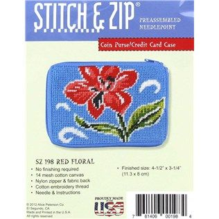 Stitch & Zip Red Floral Coin Purse / Credit Card Case Preassembled Needlepoint Kit   Shop Hobby Lobby