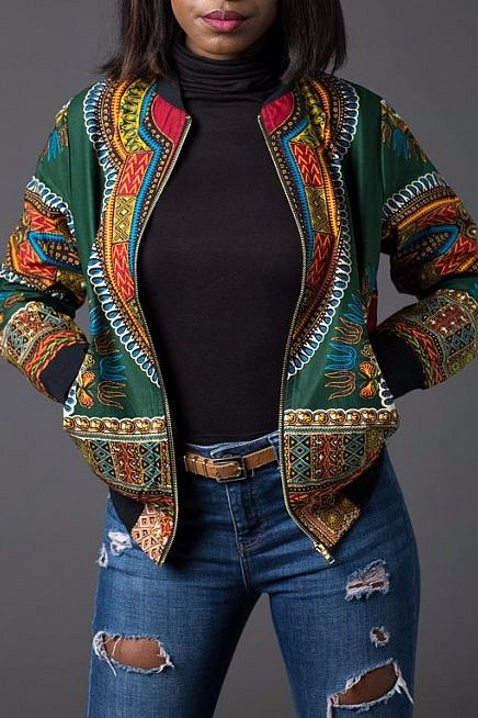 Black African Print mixed Jeans jacket. Jackets H99vdRg77