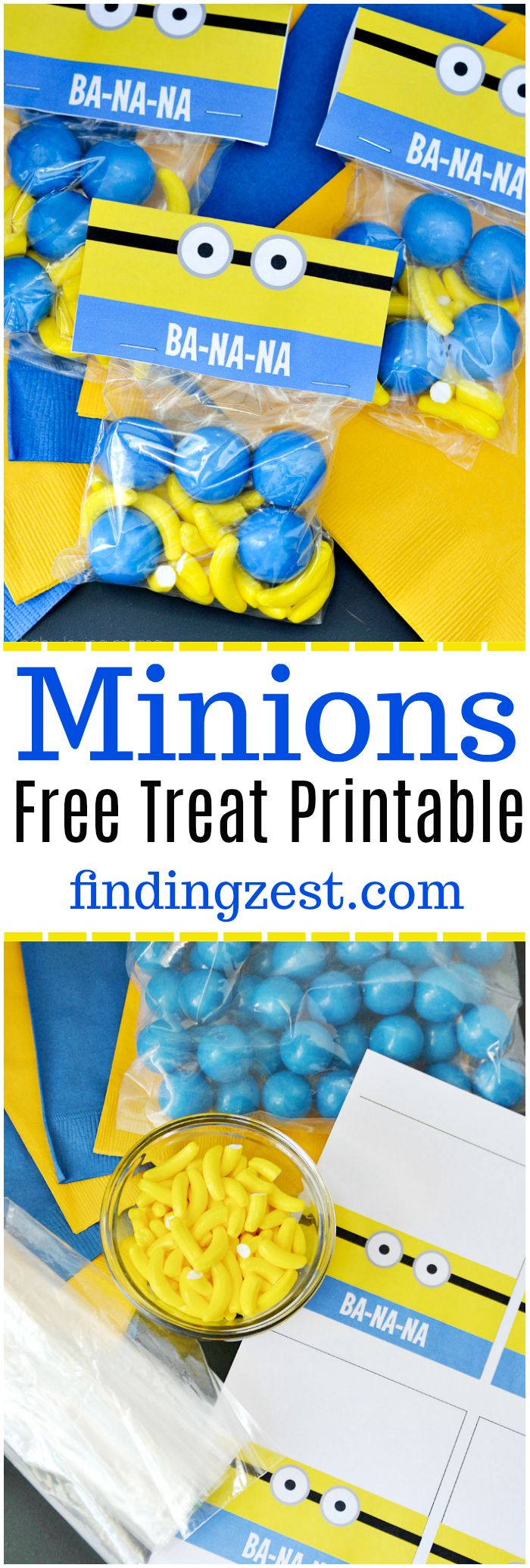 Download this Minions Free Treat Printable to create a fun DIY snack bag for a Despicable Me or Minions birthday party! Makes a great kids party favor!