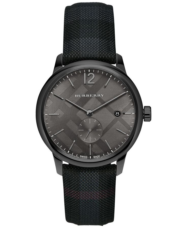 Dark gray combines with a gorgeous gunmetal to create this distinguished timepiece from Burberry's The Classic Round collection. | Dark gray fabric strap | Round gunmetal stainless steel case, 40mm |