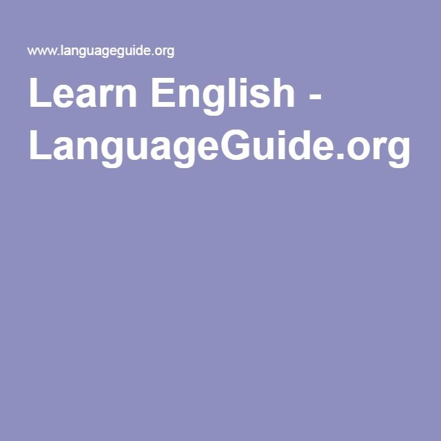 Learn English - LanguageGuide.org